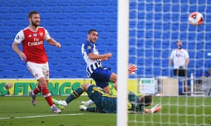 Brighton & Hove Albion's Neal Maupay scores their second goal.