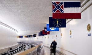 The Confederate battle flag, as part of Mississippi's state flag, hangs in the US Capitol along the Senate subway.