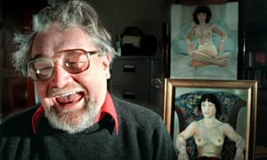 Alasdair Gray, novelist and artist at home in Glasgow in 2001.