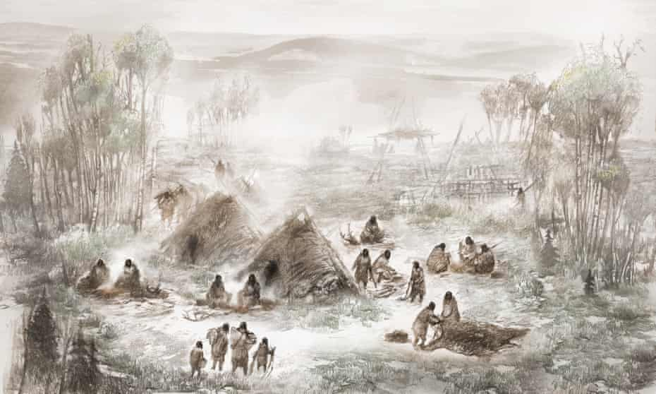 An illustration of the Upward Sun River camp in what is now Interior Alaska.