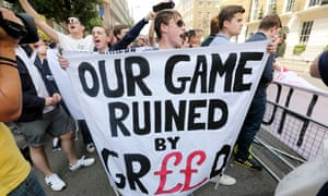 Protest in London against Premier League ticket prices.
