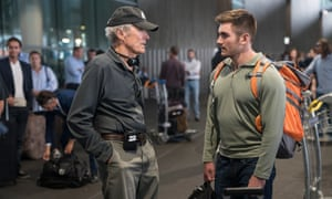 'He doesn't say if it's good or bad' … Clint Eastwood and Alek Skarlatos on set.