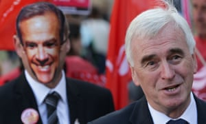 John McDonnell at a meeting in 2017 with Bank of England protesters wearing Mark Carney masks.