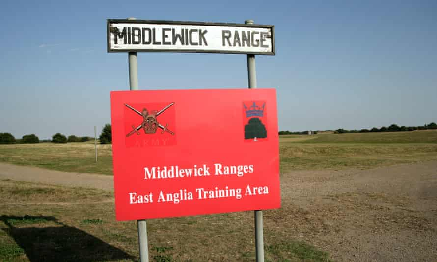 Sign saying 'Middlewick Ranges' East Anglia Training Area.
