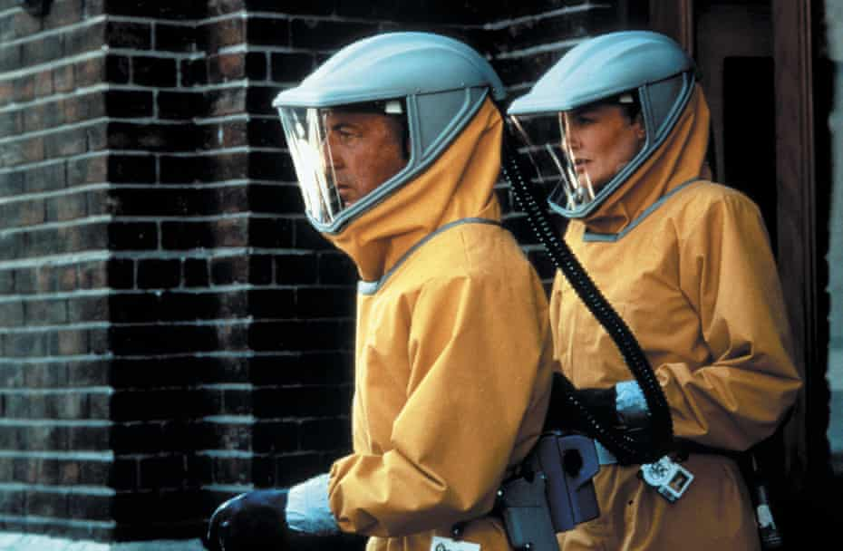 'They became the definitive biohazard suit for decades' ... Dustin Hoffman and Rene Russo ready for action in Outbreak. Photograph: Peter Sorel/Warner Bros/Punch Prods/Kopelson/Kobal/Rex/Shutterstock