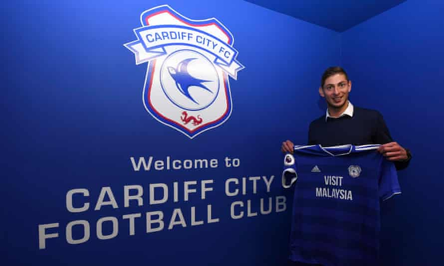 Emiliano Sala is pictured with a Cardiff City shirt days before he was killed in a plane crash.