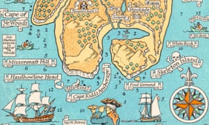 Peaks and pirates … A version of Robert Louis Stevenson's map by Monro Orr in 1934.