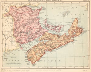 A map of New Brunswick and Nova Scotia from 1890, a few years before the first basketball game.