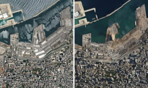 Damage to Beirut port.