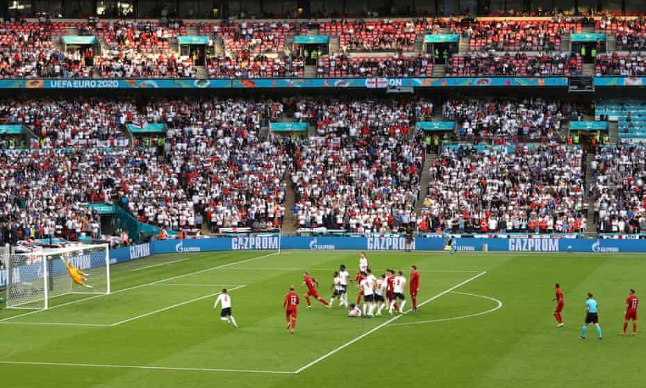 England keeper Jordan Pickford is beaten by Mikkel Damsgaard's free kick which gave Denmark the lead.