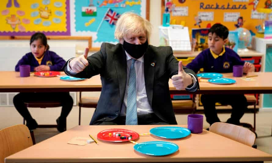 Boris Johnson in a Year 2 maths lesson at St Mary's CE primary school, Stoke-on-Trent, in March.