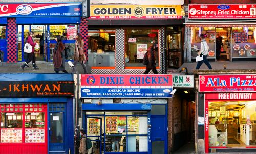 Chicken shops on Mile End Road, east London.
