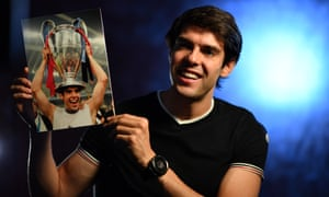 Brazil and Milan legend Kaka is the first man to arrive at the Champions League draw.