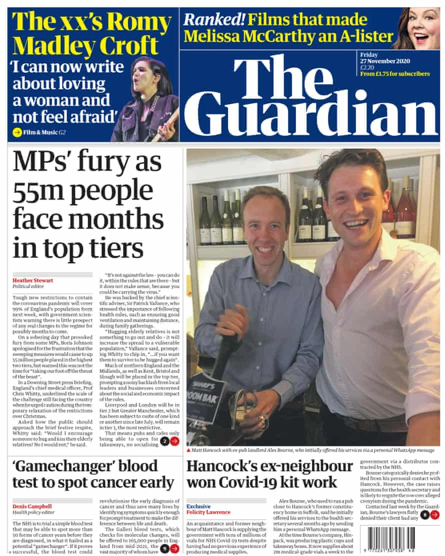 Guardian front page from 27 November 2020.