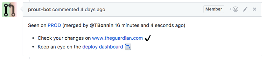 PRout comment in github