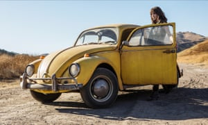 Hailee Steinfeld with Bumblebee, temporarily reconfigured as a VW Beetle.