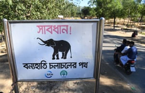 "Motorists ride past a sign saying ""Warning - route for wild elephants' near Bangladesh's Balukhali camp for Rohingya refugees"