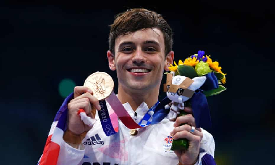 Tom Daley of Great Britain with a bronze medal following the Men's 10m Platform Final at the Tokyo Aquatics Centre on the fifteenth day of the Tokyo 2020 Olympic Games in Japan.