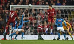 Dejan Lovren heads in Liverpool's equaliser.