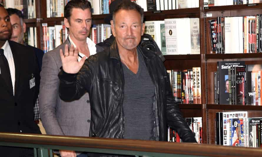 Bruce Springsteen appears at a New York bookshop to promote Born To Run.