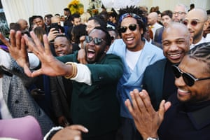 Los Angeles, California: Diddy, Jay-Z and Usher attend a Roc Nation event before the Grammys