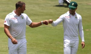 Hardus Viljoen, left, during his one Test appearance for South Africa against England at the Wanderers in January. He has recently signed for Derbyshire on a Kolpak deal