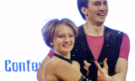 Katerina Tikhonova dances with Ivan Klimov during the World Cup Rock'n'Roll acrobatic competition in Krakow.