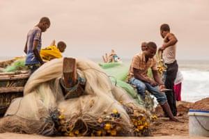 A fishing crew on Kokrobite beach, Ghana
