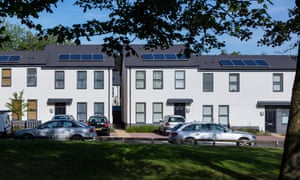 New build terraced houses with solar panels in the Midlands