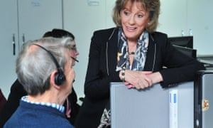 Esther Rantzen meeting volunteers at the NSPCC's Glasgow office