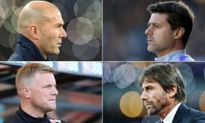 Clockwise from top left: Zinedine Zidane, Mauricio Pochettino, Antonio Conte and Eddie Howe.