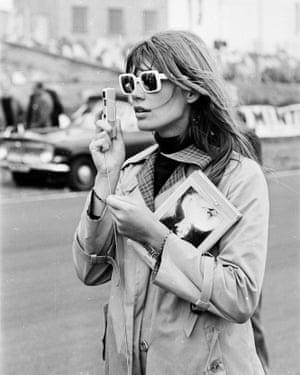 Francoise Hardy at Brands Hatch during the filming John Frankenheimer's 1966 racing drama Grand Prix.