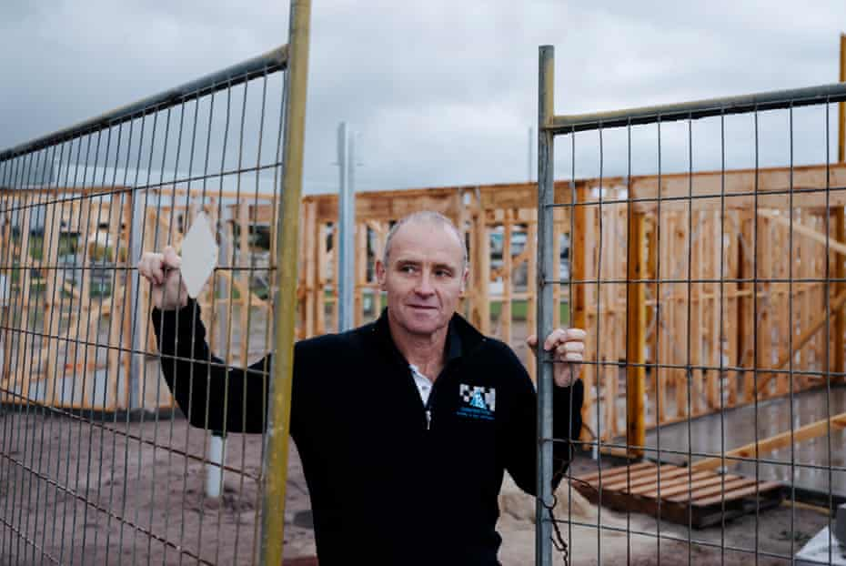 Builder Tony O'Connell from TS Constructions on site at The Cape, a sustainable residential development at Cape Paterson, Victoria.
