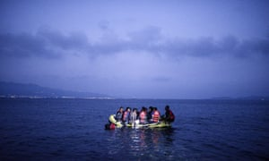 Refugees heading from Bodrum in Turkey to the Greek island of Kos
