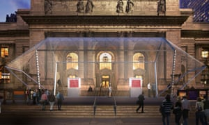 Visualisation of Odyssey housed in its Norman Foster-designed pavilion outside the New York Public Library.