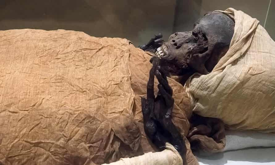 The mummy of ancient Egyptian King Seqenenre Tao II.