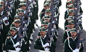 Iran's Revolutionary Guards on parade just outside Tehran in 2014.