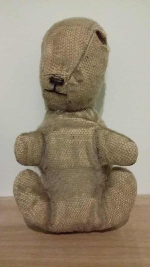 Jenny Gordon's teddy today, 67 years after his accident.