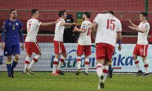 Lewandowski celebrates his second goal.