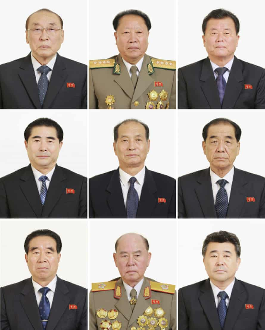 Elected members and candidates of the politburo of the North Korean Workers' party.