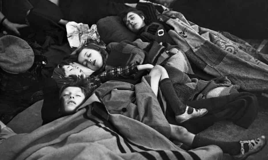 Children sleeping on a platform at a London Underground station during the blitz, October 1940.