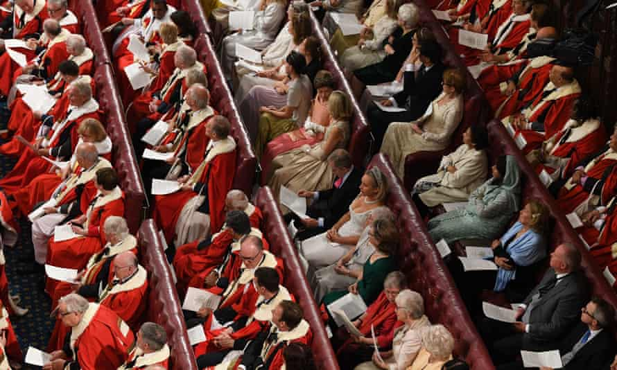 Members of the House of Lords and guests at the state opening of parliament