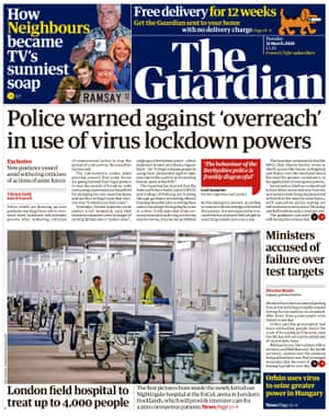 Guardian front page, Tuesday 31 March 2020