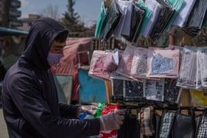 Vendors sell masks