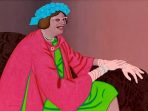 John Brack's portrayal of comedian Barry Humphries' most famous persona, Mrs Edna Everage, is painted in his distinctive deadpan manner, with precise arrangements of smooth flat colour. It was the first of seven portraits of Humphries – in all his guises – seen in the Archibald.Oil on canvas (1969)