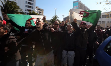 Protesters in Algiers shout slogans during a demonstration against a fifth term for the president, Abdelaziz Bouteflika.