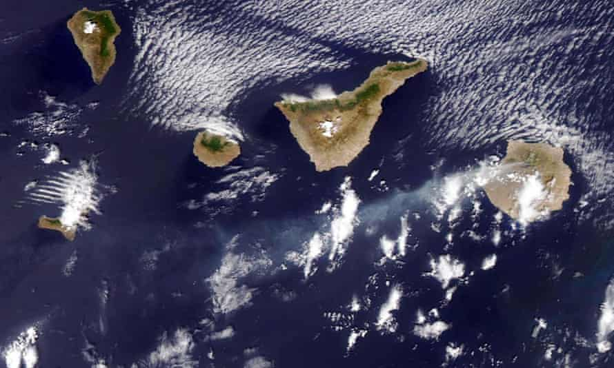 A satellite image of smoke emerging from Gran Canaria island (on the right), on Sunday.