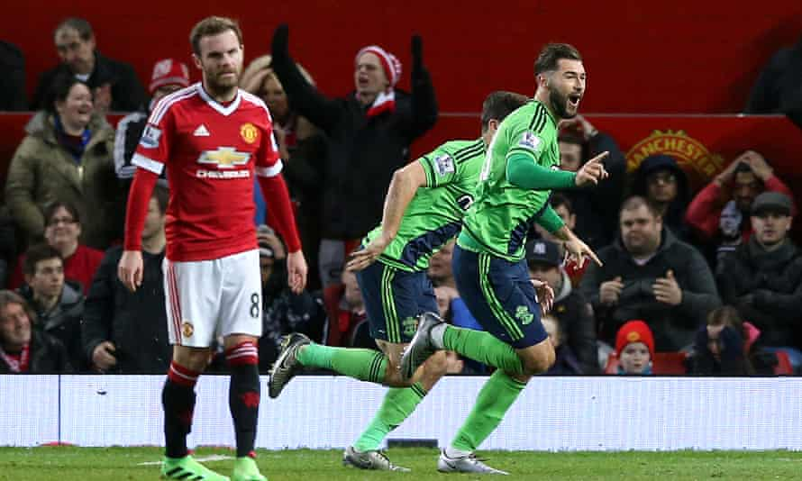 Charlie Austin, right, celebrates scoring Southampton's winning goal in their 1-0 victory at Old Trafford in January