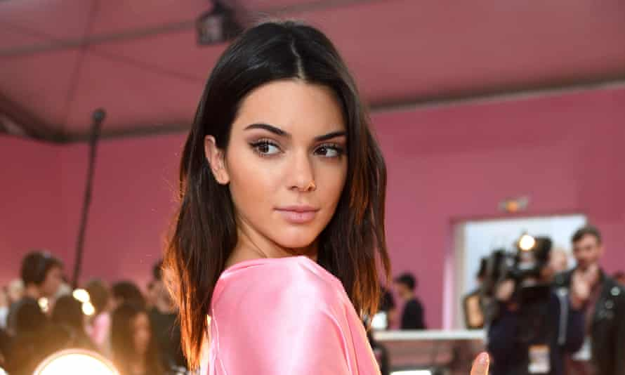 Pink palais: Kendall Jenner backstage at the Victoria's Secret Fashion Show.