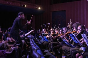 The US conductor Jonathan Rush conducts the Nairobi Philharmonic Orchestra for the production